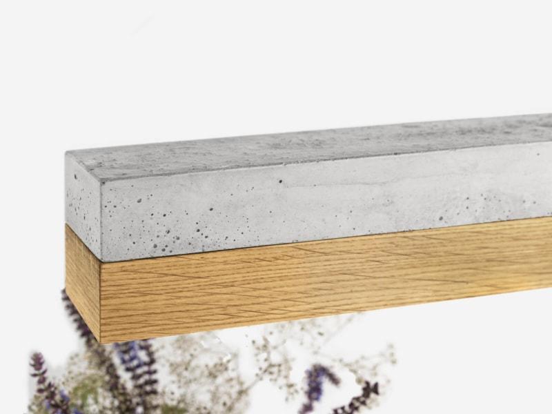 130916 C1 Eichenholz Beton Lampe Detail Material von oben