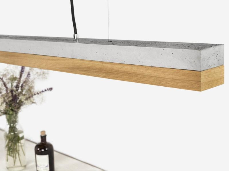 130916 C1 Eichenholz Beton Lampe Detail von oben