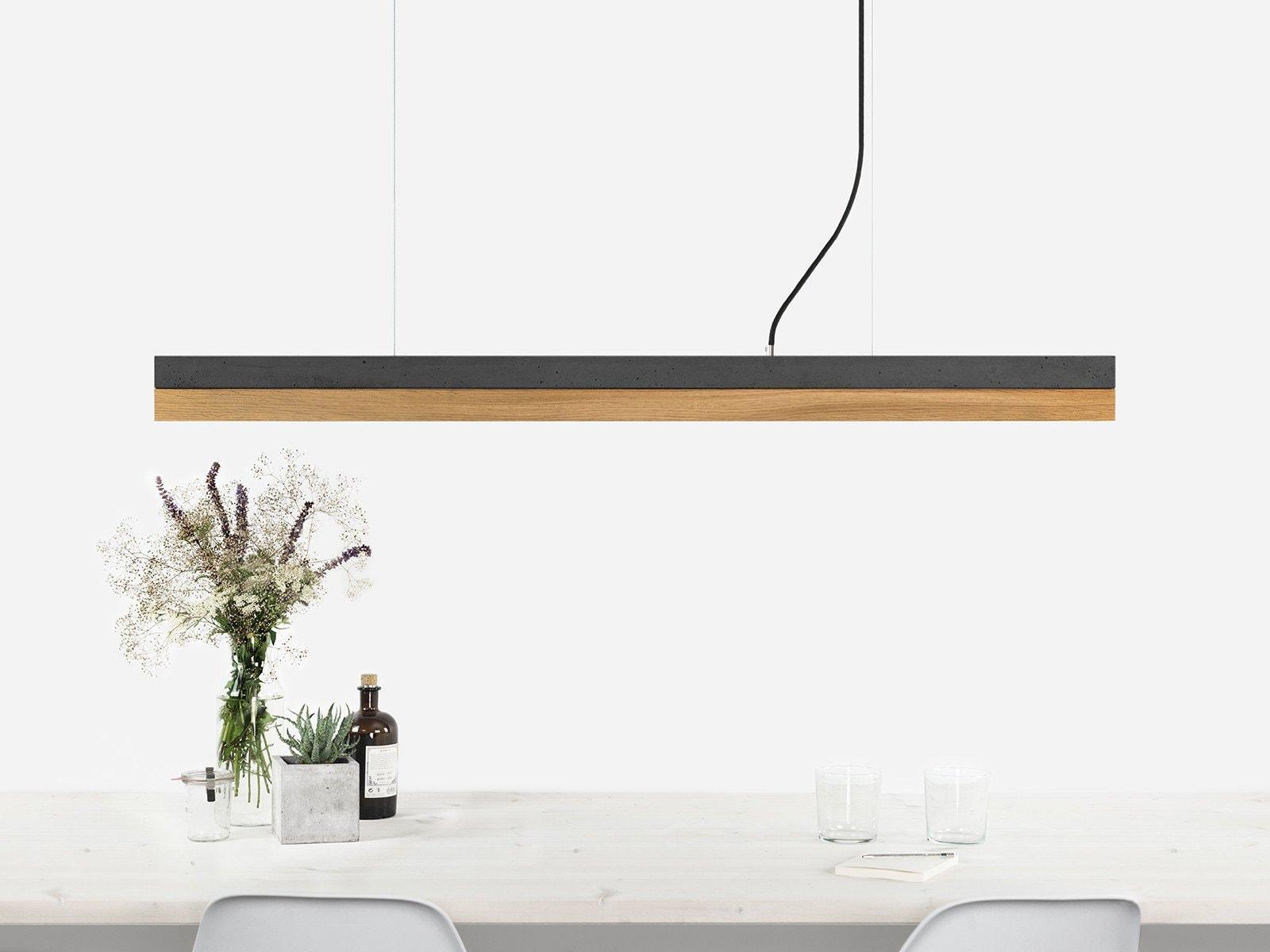 products 090916 C1 Beton dunkel Eiche Lampe ansicht uber Tisch