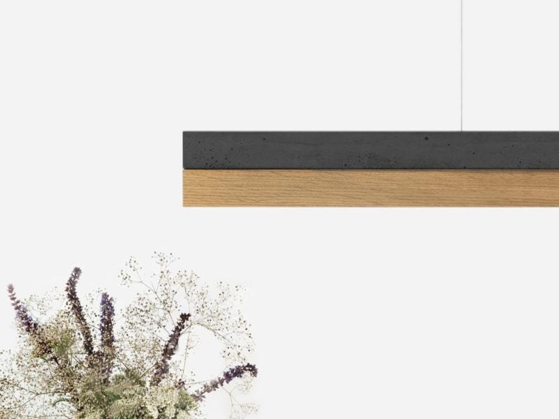 products 240417 C1 Beton dunkel Eichenholz Pendelleuchte Detail Ansicht