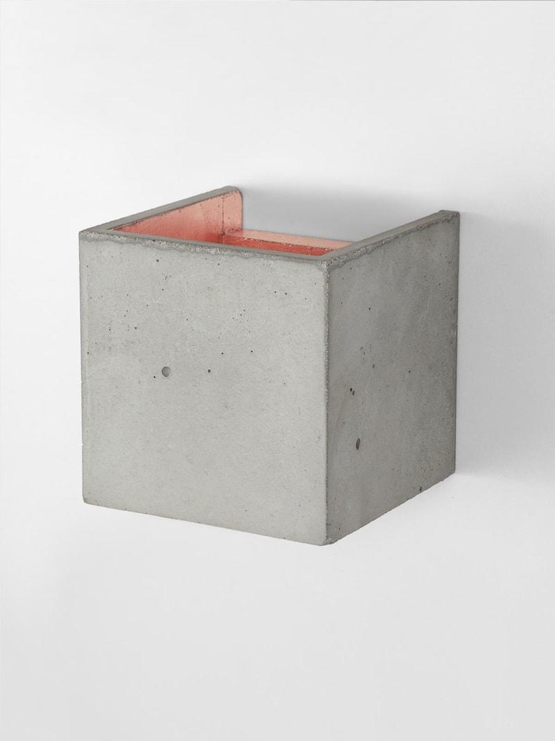 b3 wandlampe quadratisch beton kupfer 10