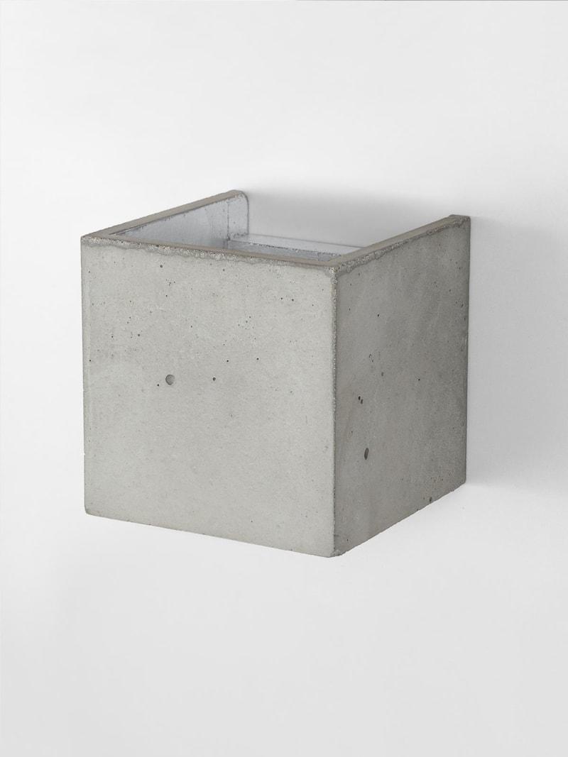 b3 wandlampe quadratisch beton silber 12