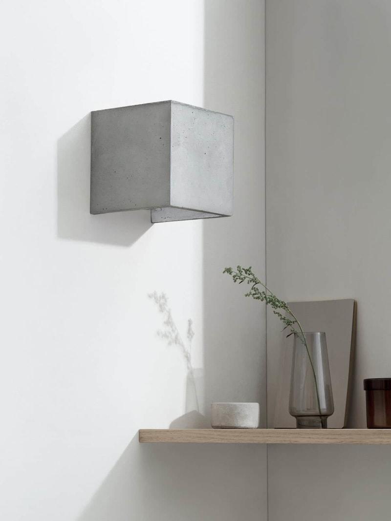 b3 wandlampe quadratisch beton silber 13