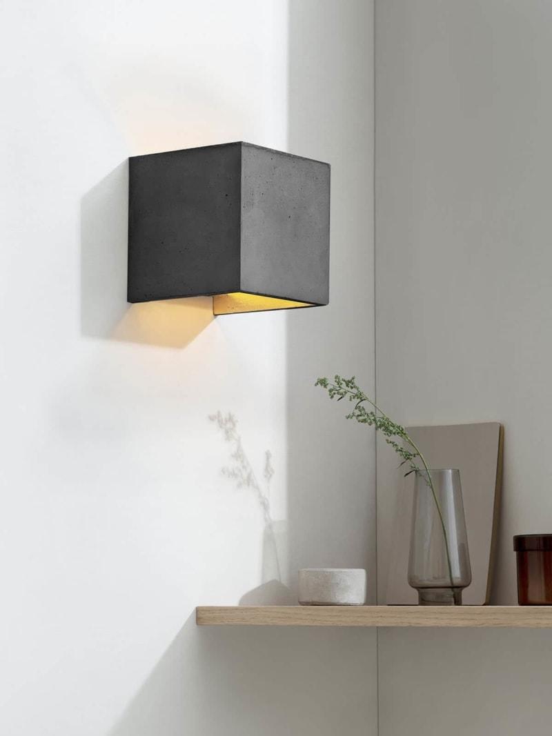 b3dark wandlampe quadratisch beton gold 01