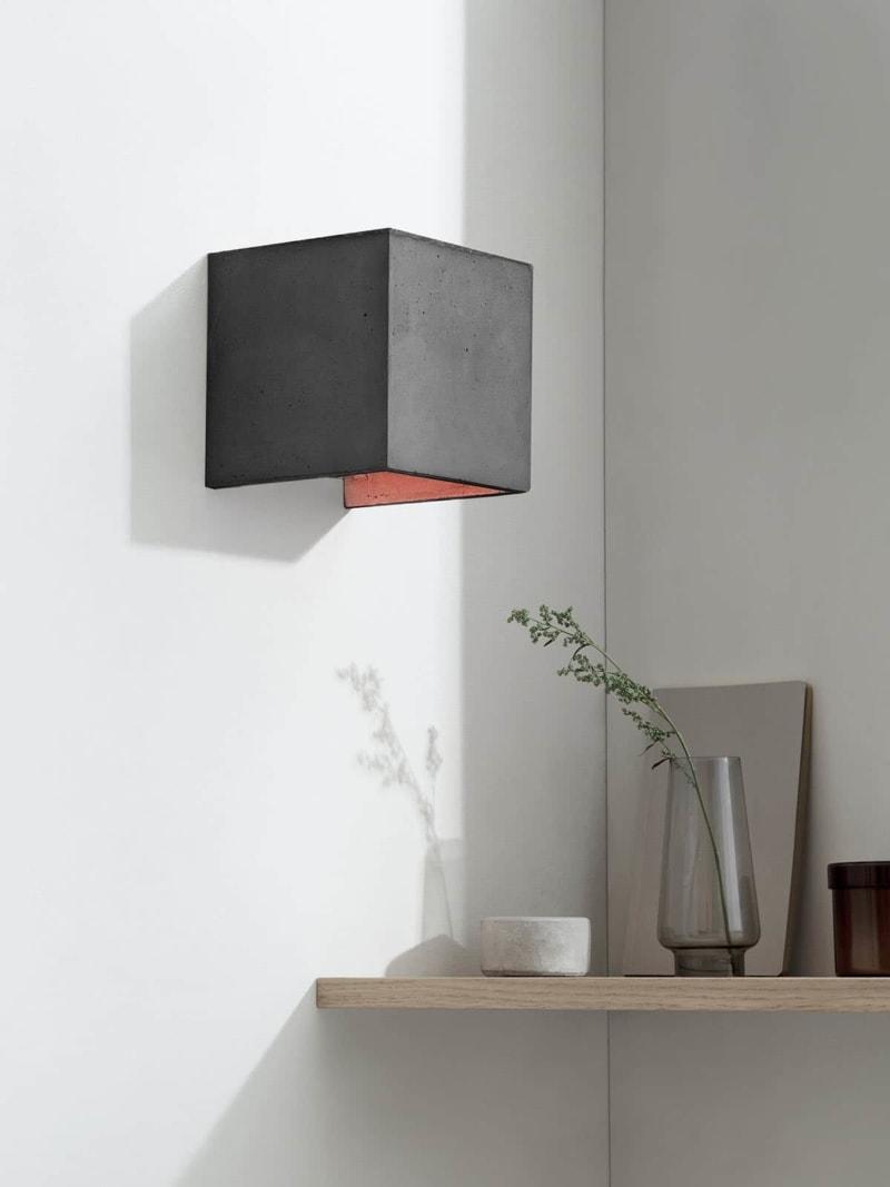 b3dark wandlampe quadratisch beton kupfer 09