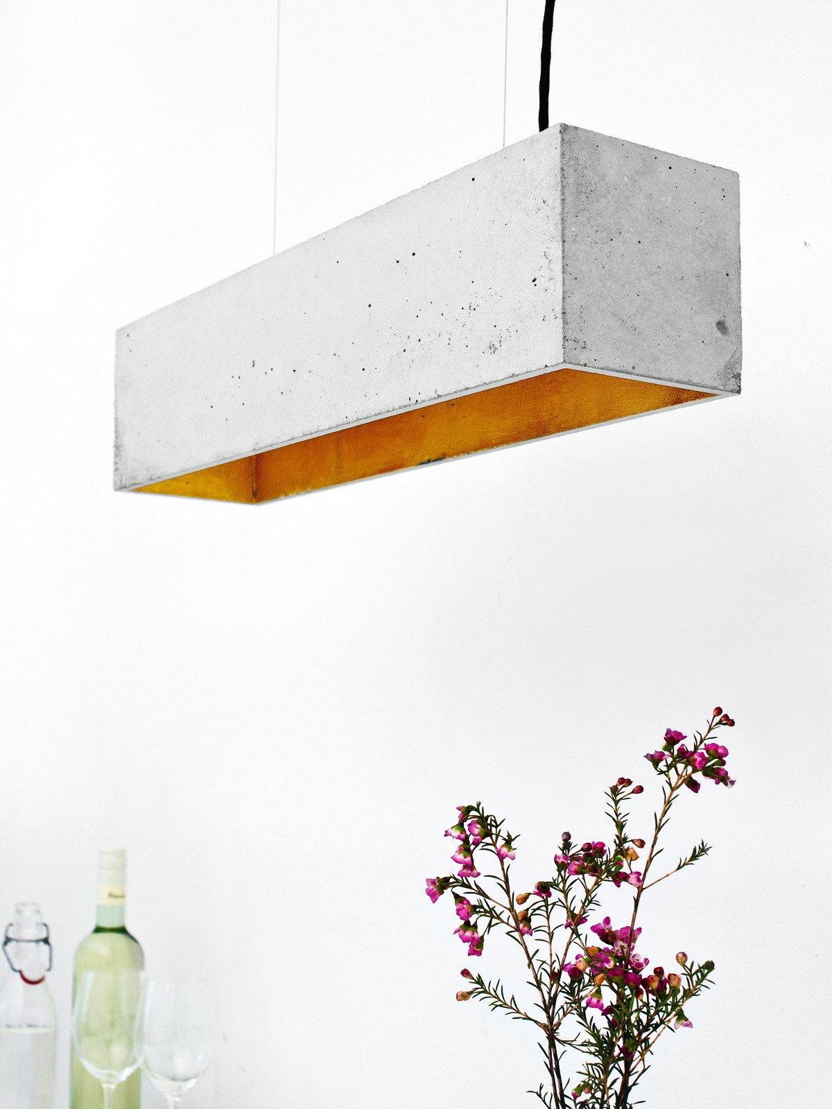 b4 pendelleuchte rechteckig beton gold 11