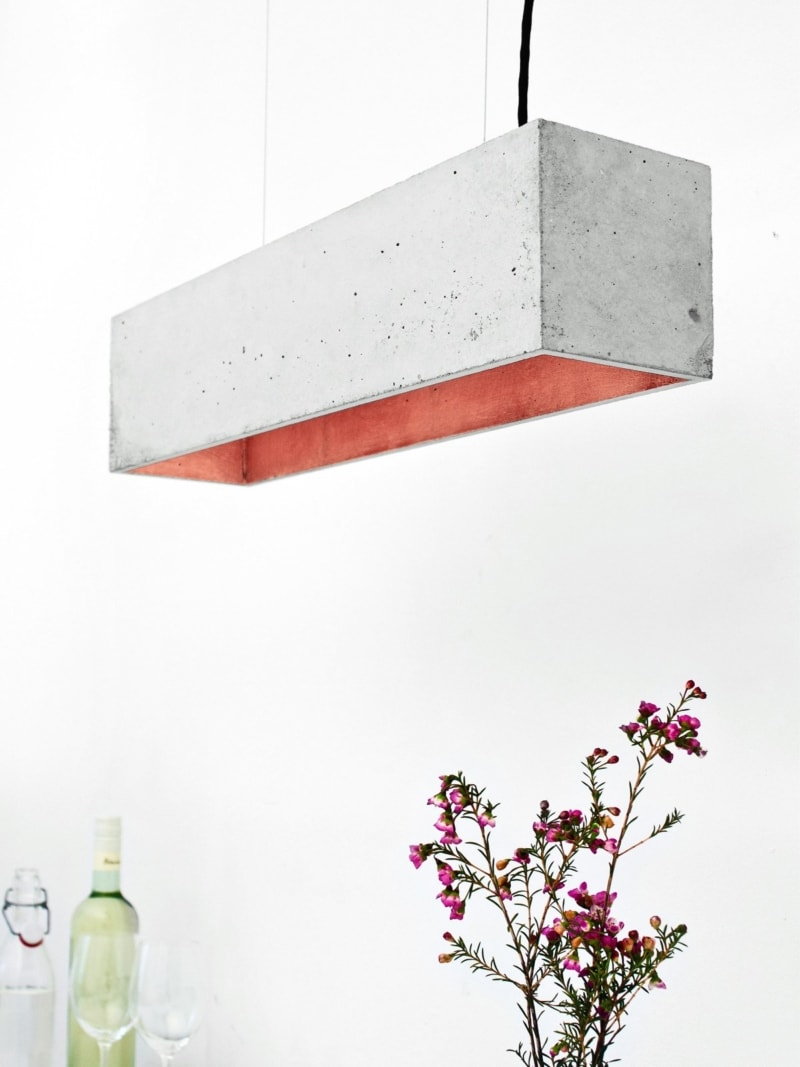 b4 pendelleuchte rechteckig beton kupfer 13