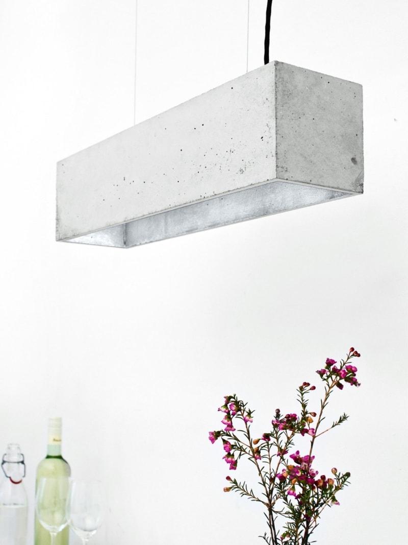 b4 pendelleuchte rechteckig beton silber 14