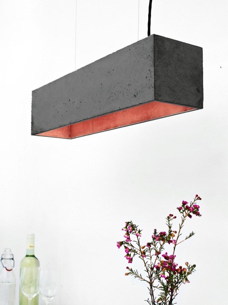 b4dark pendelleuchte rechteckig beton kupfer 14