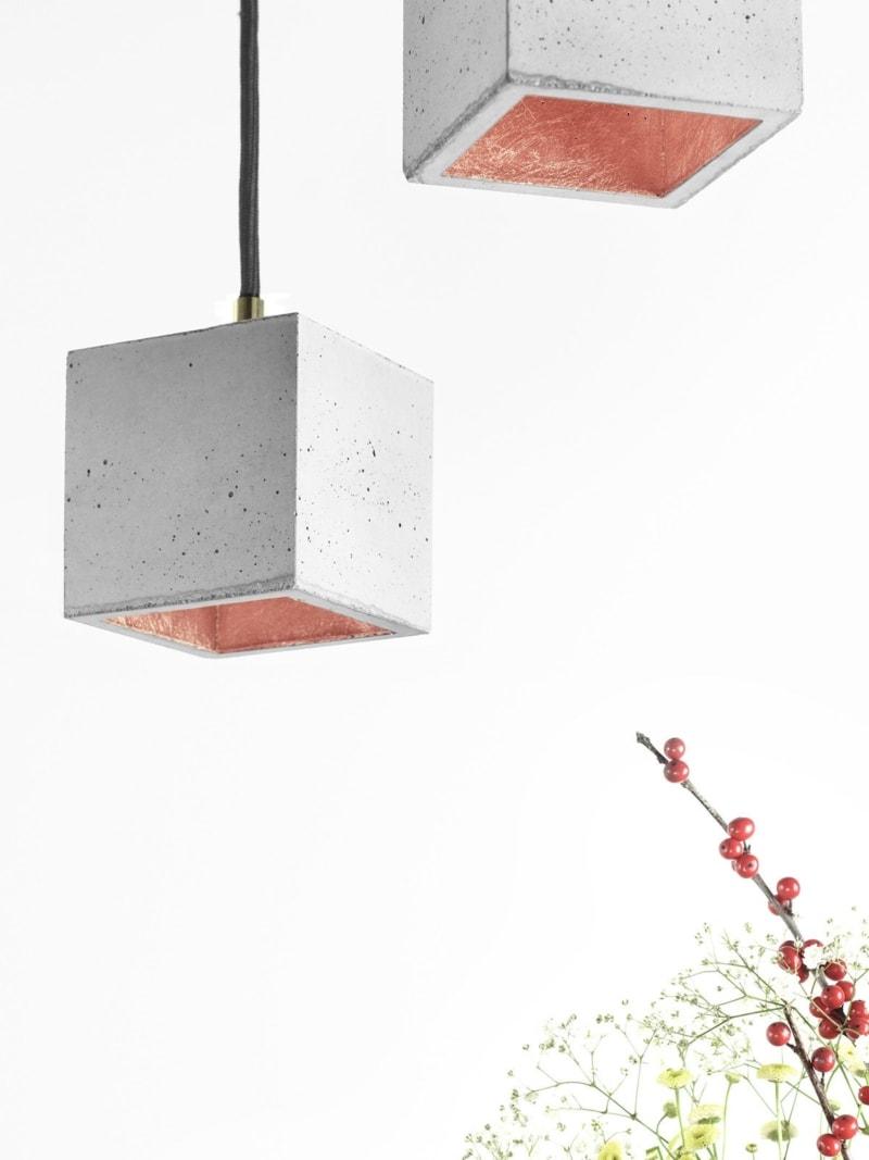 b6 haengelampe quadratisch klein beton kupfer 10
