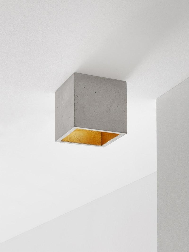 b7 deckenspot deckenlampe quadratisch beton gold 0
