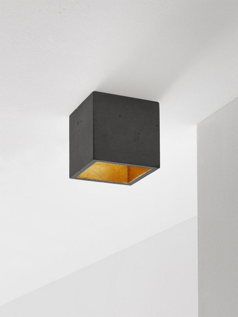 b7dark deckenspot deckenlampe quadratisch beton gold 0