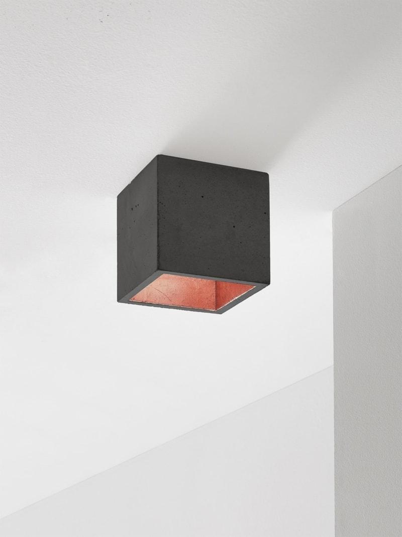 b7dark deckenspot deckenlampe quadratisch beton kupfer 12