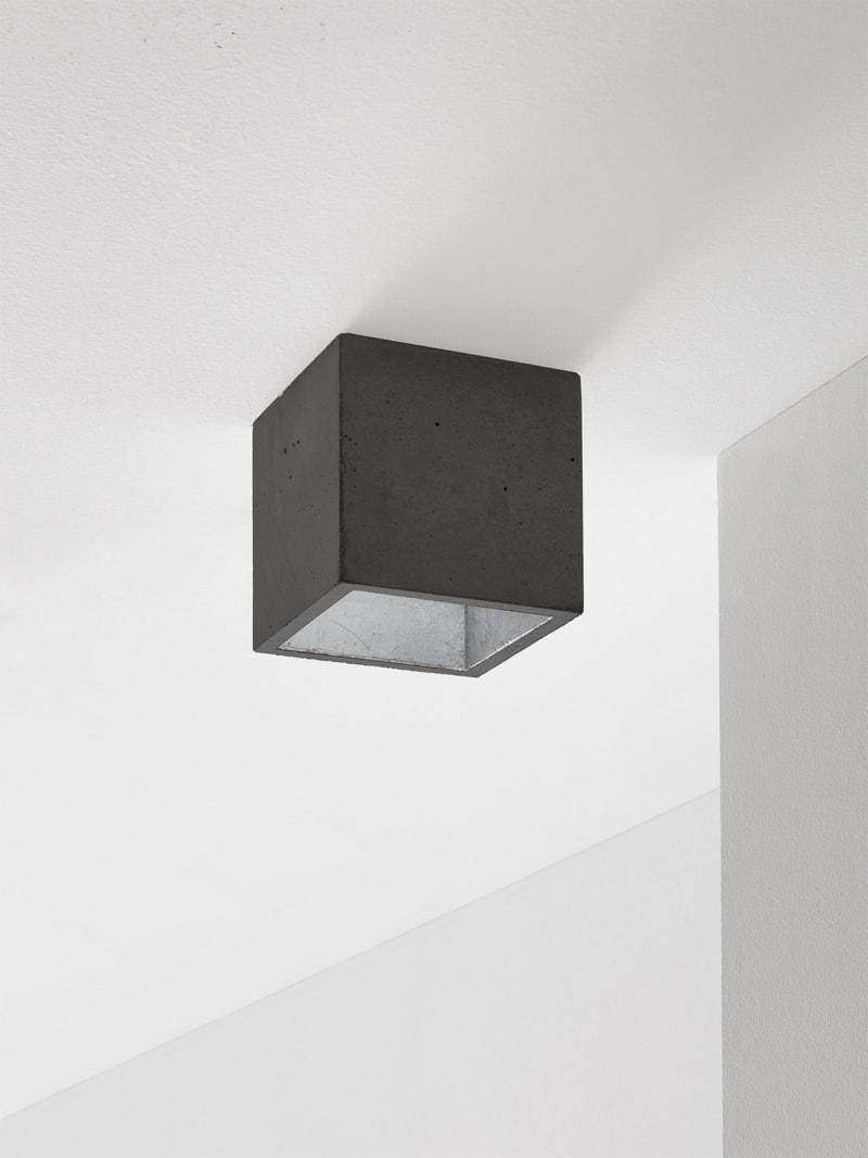 b7dark deckenspot deckenlampe quadratisch beton silber 13