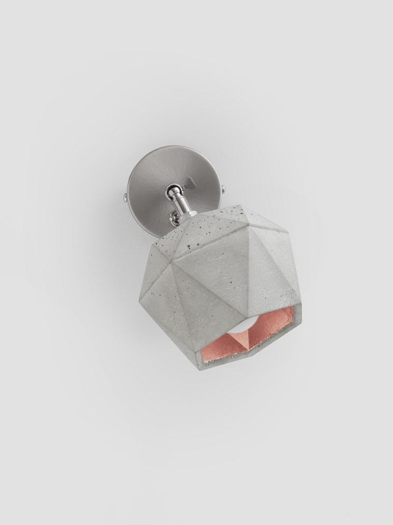 t2 spot wandlampe trianguliert beton kupfer 13