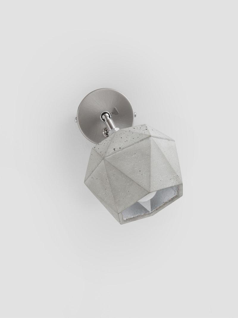 t2 spot wandlampe trianguliert beton silber 14