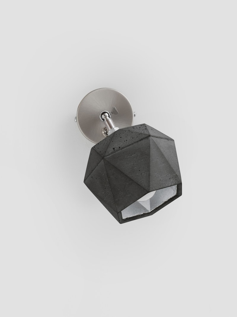 t2dark spot wandlampe trianguliert beton silber 08