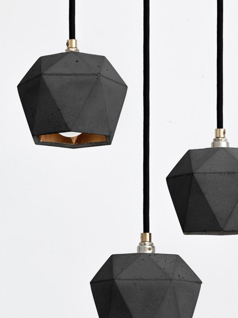 t2set dark haengelampe lampenbuendel trianguliert beton gold 03
