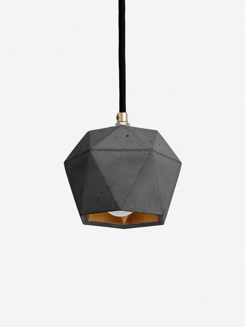 t2set dark haengelampe lampenbuendel trianguliert beton gold 12