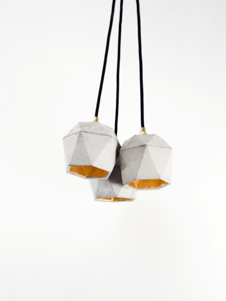 t2set haengelampe lampenbuendel trianguliert beton gold 08