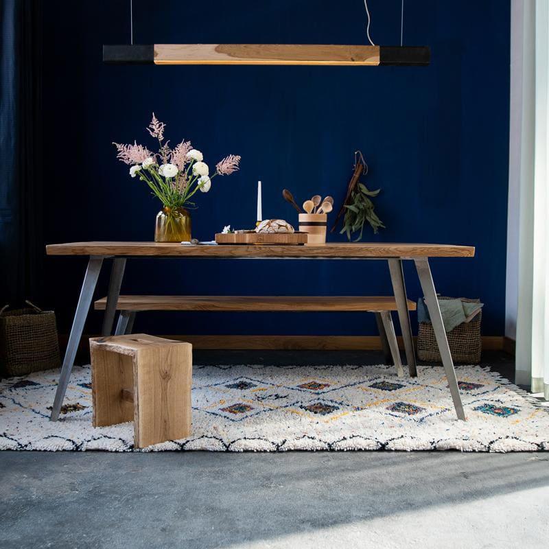 esstisch konisch eiche massivholz stahl braun schwarz weiss woodboom 01