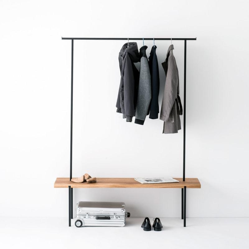 garderobe 01 eiche massivholz braun kleiderstange metall schwarz weldco 03