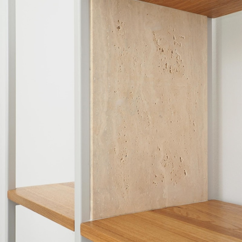 10 celeste oak regal telegrau grau eiche stahl marmor travertin aufbewahrung johanenlies