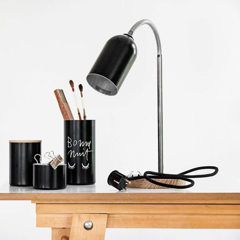 01 firelight schreibtischlampe aluminium schwarz nussbaum eiche holz werkvoll