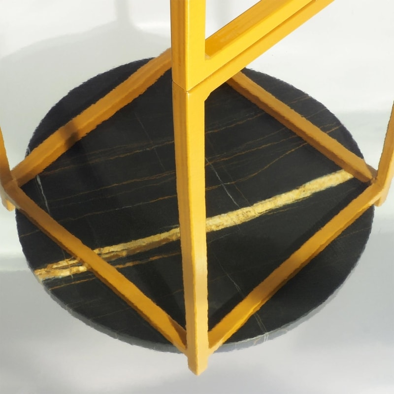 06 lulu sahara noir beistelltisch marmor schwarz struktur stahl ockerbraun ocker braun