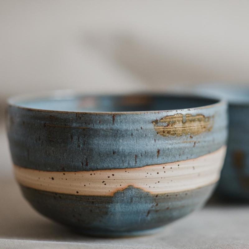 03 dining ritual vessel 2 keramik ton blau handgefertigt brsg