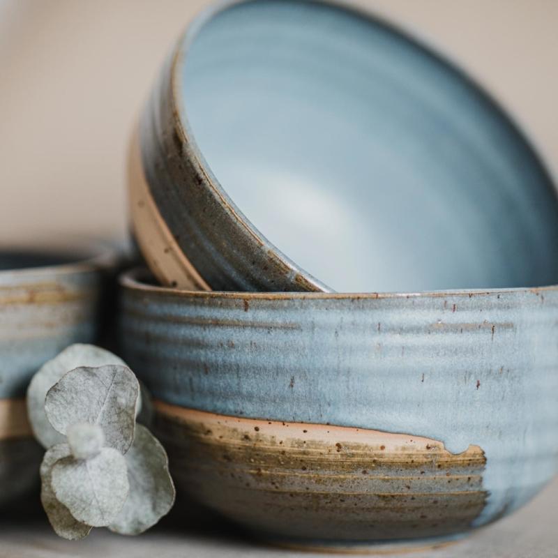 06 dining ritual vessel 2 keramik ton blau handgefertigt brsg