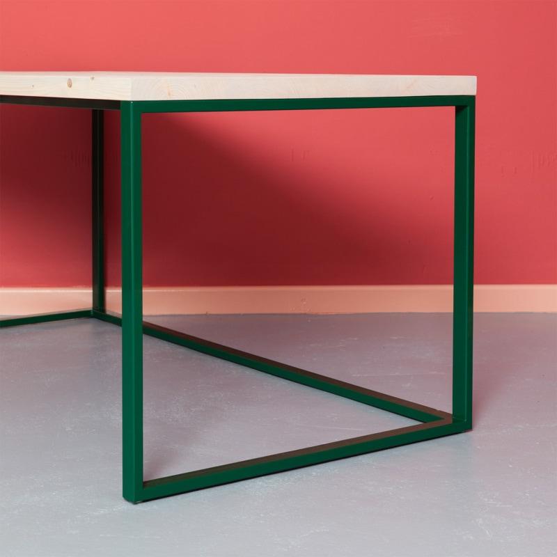 06 maastricht desk tisch schreibtisch bauholz holz stahl deepgreen gruen johanenlies