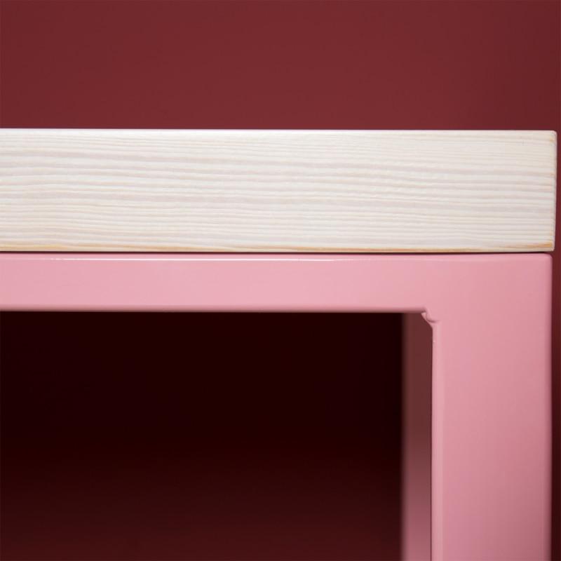 06 meerssen tisch esstisch bauholz holz stahl hellrosa rosa johannenlies