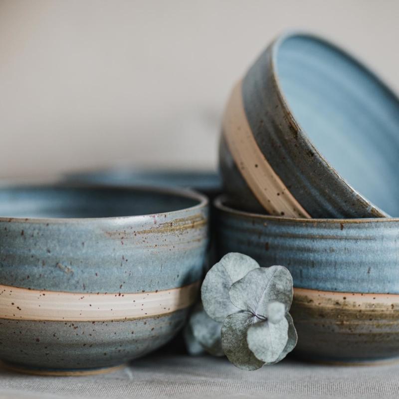 07 dining ritual vessel 2 keramik ton blau handgefertigt brsg