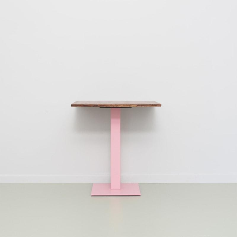 07 louis coffeetable bistrotisch tisch stehtisch eiche braun stahl hellrosa rosa johanenlies