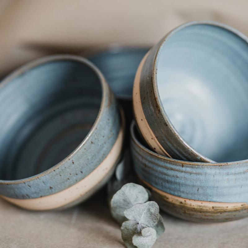 08 dining ritual vessel 2 keramik ton blau handgefertigt brsg