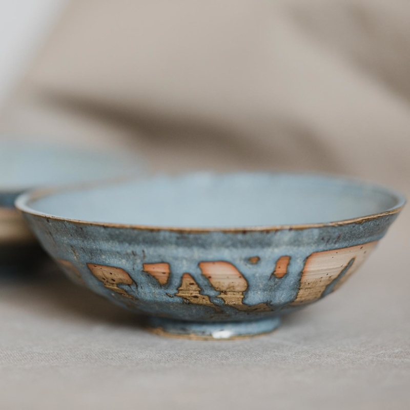 09 dining ritual vessel 1 keramik ton blau handgefertigt brsg