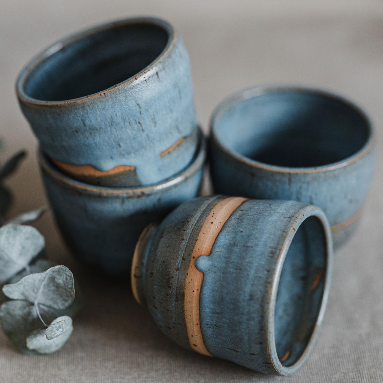 10 drinking vessel 1 keramik ton blau handgefertigt brsg